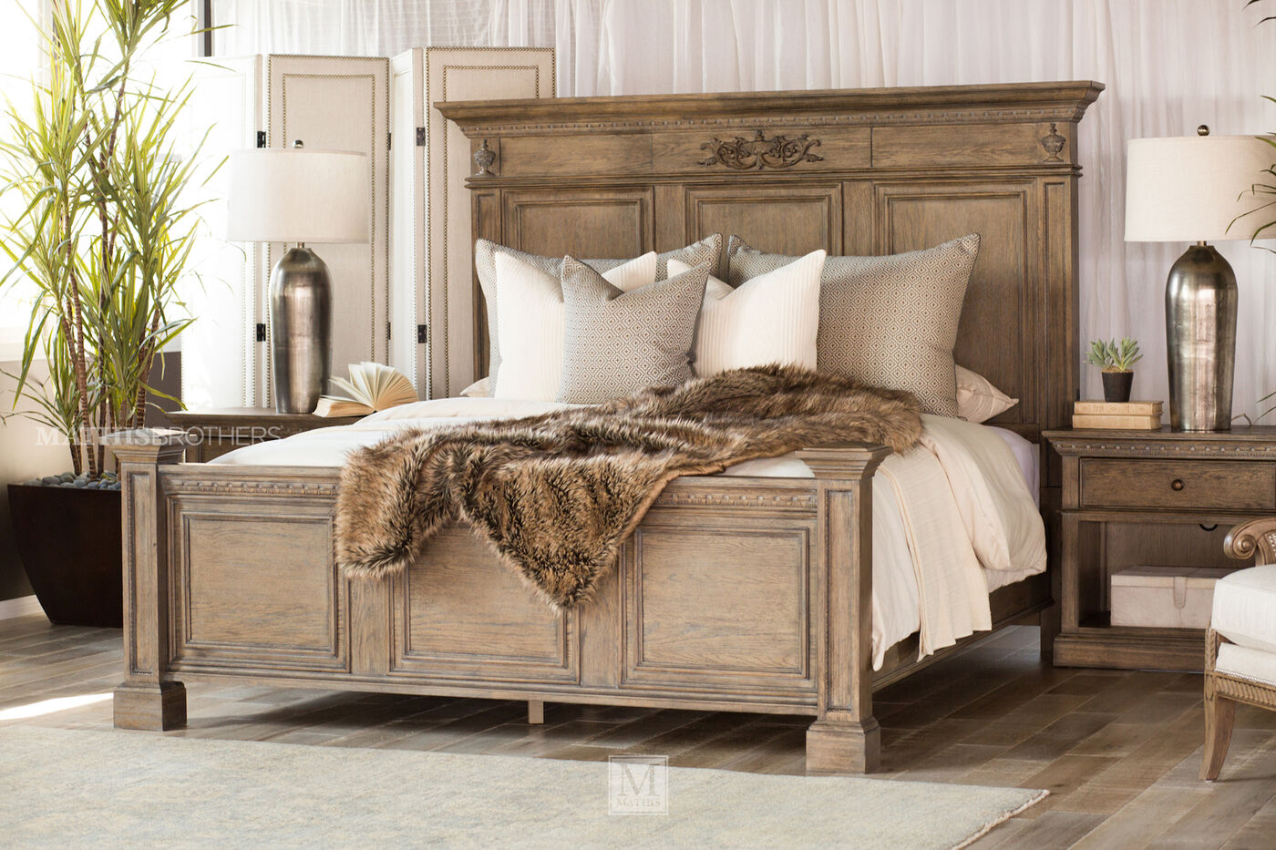 Four-Piece Traditional Bedroom Set in Light Aged Oak | Mathis ...