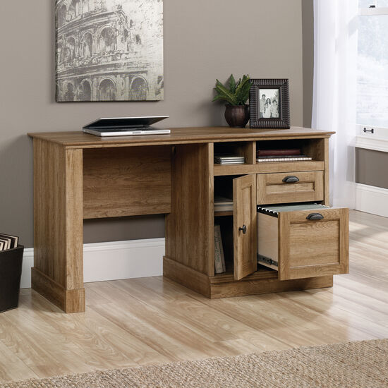 """54"""" Traditional Two-Drawer Computer Desk in Scribed Oak"""