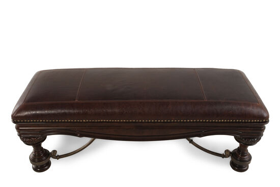 "Nailhead Accented 54"" Leather Bed Bench in Brown"