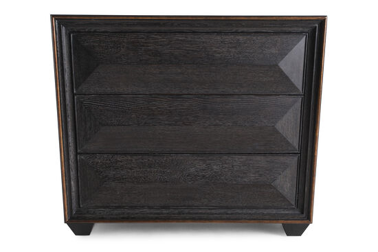 """32"""" Contemporary Beveled Three-Drawer Bachelor's Chest in Black"""