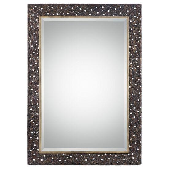 """42"""" Pierced Hammered Frame Mirrorin Dark Bronze"""