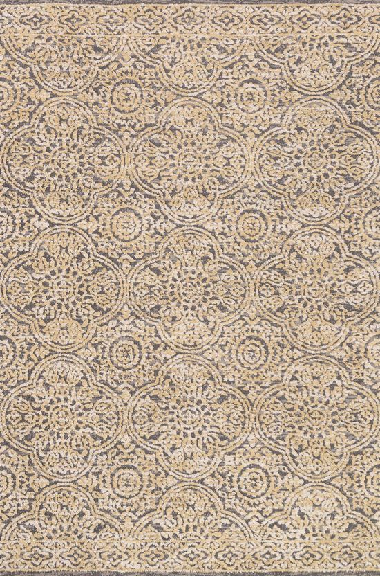 """Contemporary 1'-6""""x1'-6"""" Square Rug in Mink/Gold"""