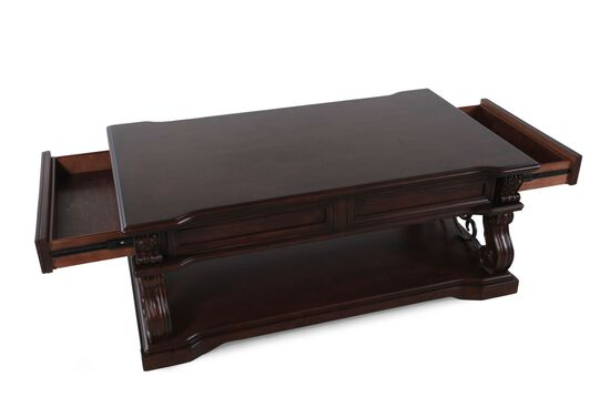 Lift-Top Traditional Cocktail Tablein Walnut Brown