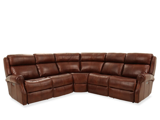 "Three-Piece Leather 106.5"" Power Reclining Sectional in Brown"