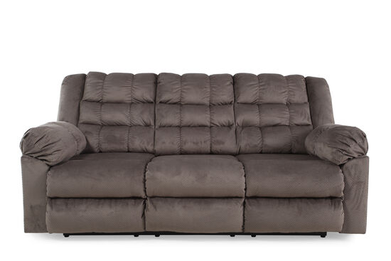 """Tufted Microfiber 87"""" Reclining Sofa in Charcoal"""