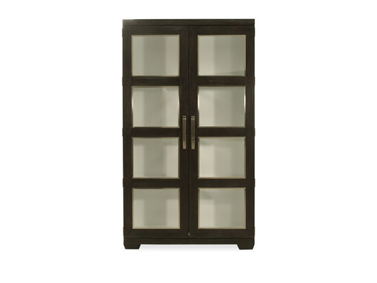 Glass Door Display Cabinet in Cerused Mink