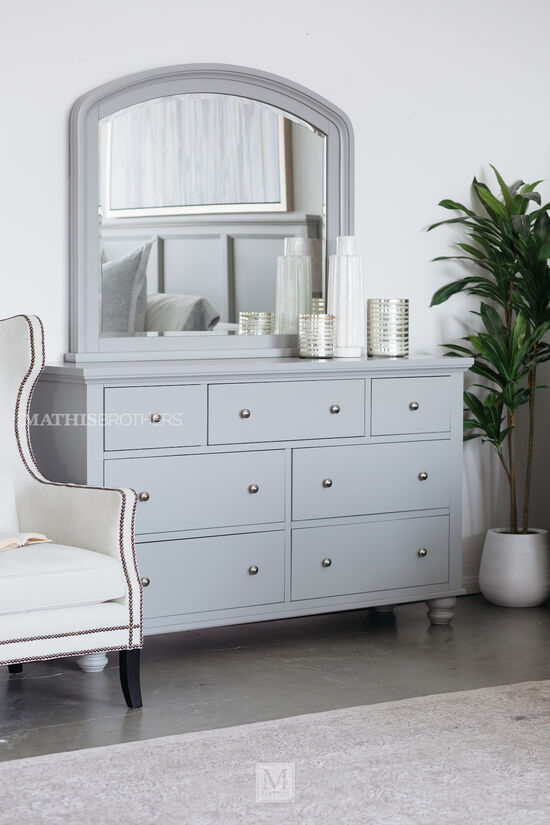 Two-Piece Casual Dresser & Mirror in Gray