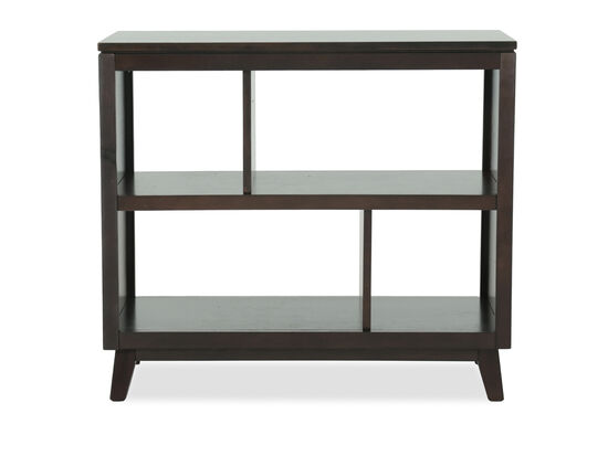 Open Shelves Mid-Century Modern Sofa Table in Dark Brown