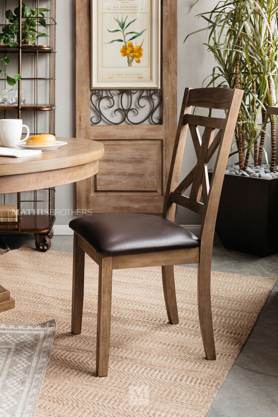 "Casual 40"" X-Back Side Chair in Light Brown"