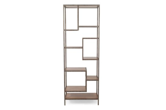 Staggered-Shelf Transitional Bunching Etagere in Dark Hickory