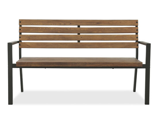 Planked Aluminum Park Bench in Brown