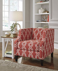"""Quatrefoil Patterned Traditional 30"""" Accent Chair in Coral"""