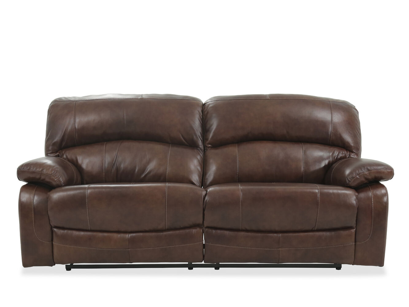 leather 91 power reclining wall saver sofa in brown mathis brothers furniture. Black Bedroom Furniture Sets. Home Design Ideas
