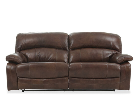 """Leather 91"""" Power Reclining Wall Saver Sofa in Brown"""