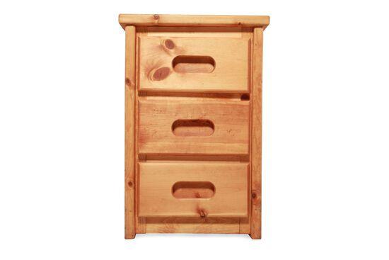 Solid Pine Three-Drawer Youth Nightstandin Cinnamon