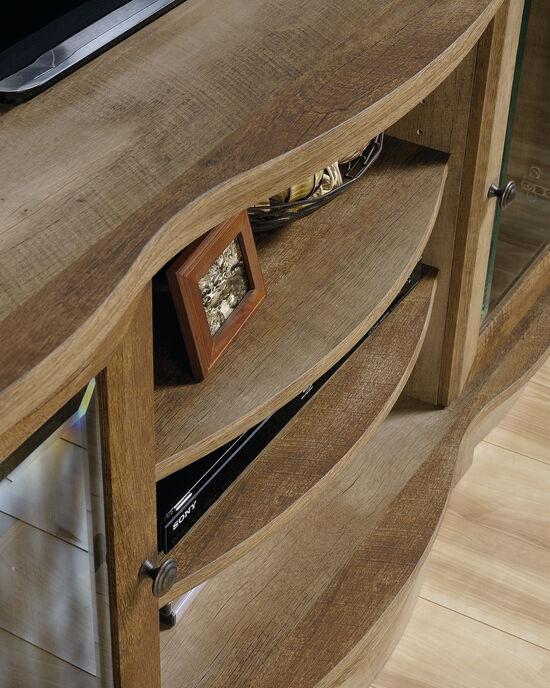 Framed Glass Door Contemporary Credenzain Craftsman Oak