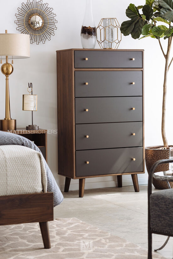 """56"""" Modern Five-Drawer Chest in Brown"""