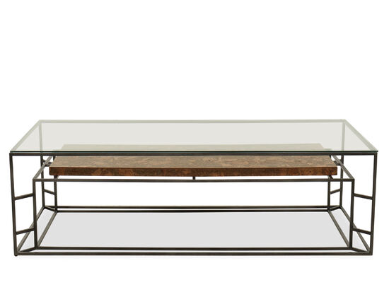 Casual Rectangular Glass Top Cocktail Table in Gray