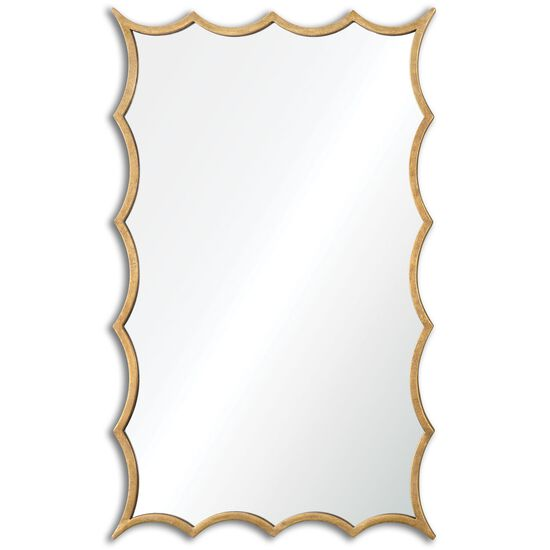 "38.5"" Scalloped Accent Mirror in Antiqued Gold Leaf"