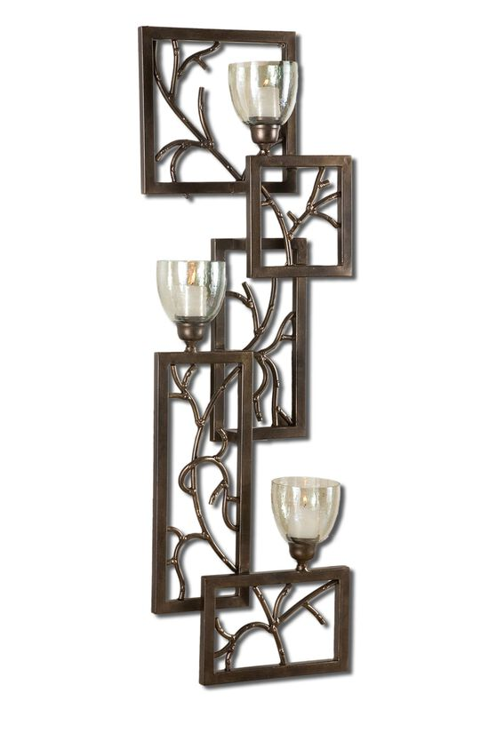 Framed Branch Wall Sconce in Dark Bronze