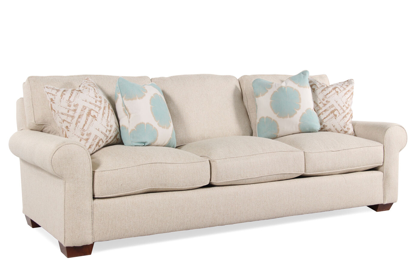 Transitional low profile 103 sofa in cream mathis for Low height sectional sofa