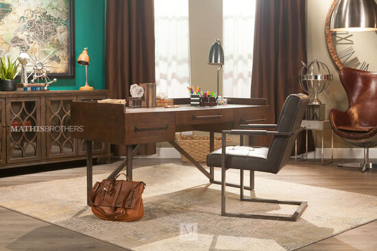 "63"" Contemporary Three-Drawer Desk in Walnut"