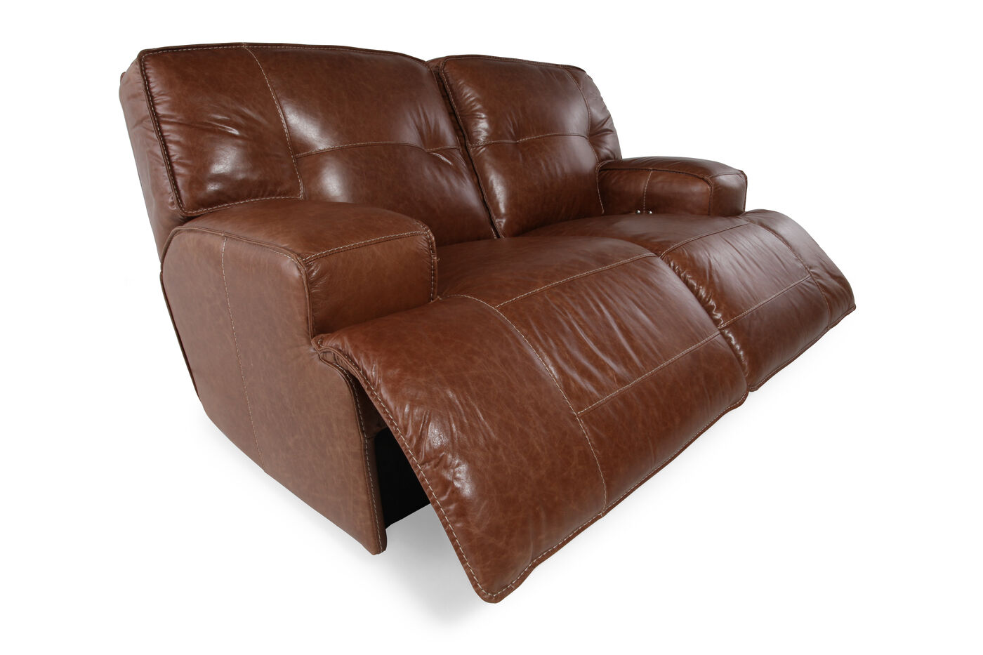 Power Reclining Leather 71 Quot Loveseat In Caramel Brown
