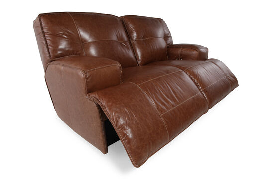 "Power Reclining Leather 71"" Loveseat in Caramel Brown"