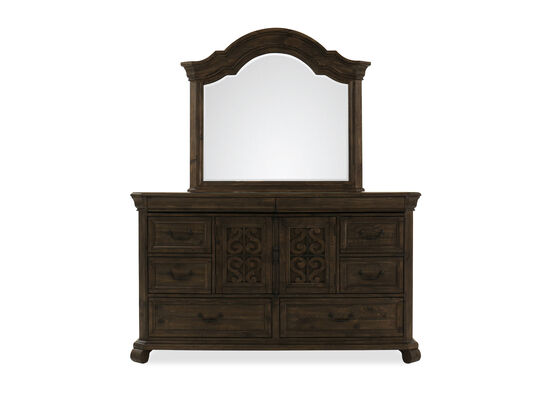 Two-Piece Contemporary Carved Dresser and Mirror in Dark Brown