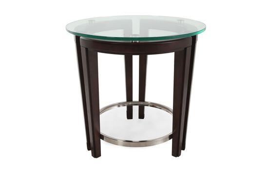 Round Tempered Glass Contemporary End Tablein Dark Hazelnut