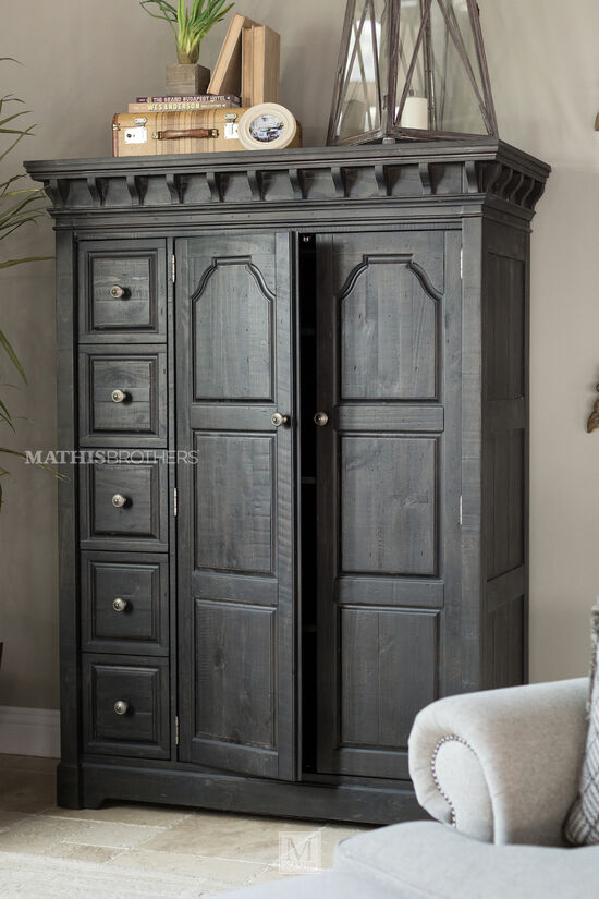 """72"""" Transitional Five-Drawer Door Chest in Anvil Black"""