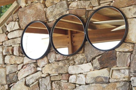 """42"""" Contemporary Triple Circular Accent Mirror in Burnished Black"""