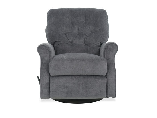 Button Tufted Casual Swivel Glider Rocking Recliner in Slate