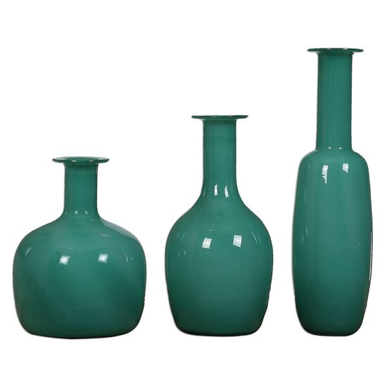 Three-Piece Glass Vases in Turquoise