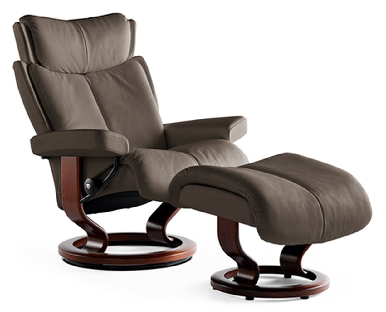 Contemporary Small Chair And Ottoman In Chocolate Mathis