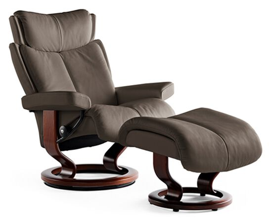 Contemporary Small Chair and Ottoman in Chocolate