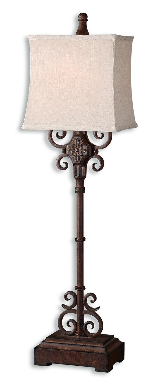 Rectangular Semi Bell Shade Buffet Lamp in Distressed Rust Brown
