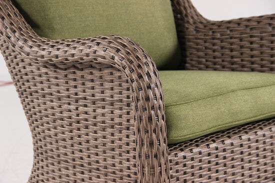 Contemporary Woven Swivel Dining Chair in Olive