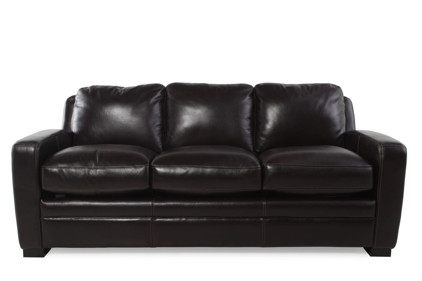Traditional Leather Queen Sleeper Sofa In Black Mathis Brothers  ~ Black Leather Pull Out Sofa