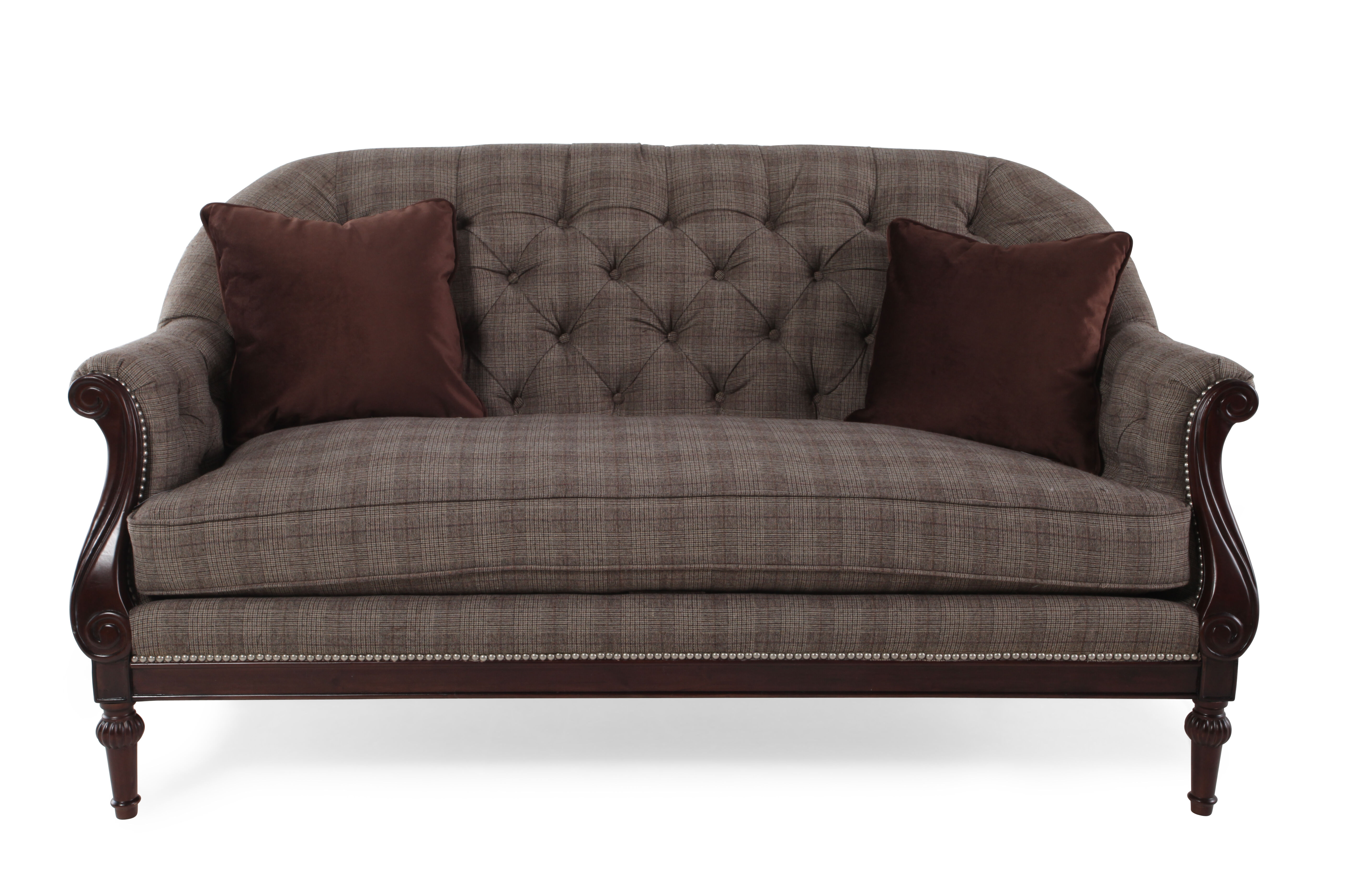 Images Button Tufted Traditional 66u0026quot; Settee In Gray Button Tufted  Traditional 66u0026quot; Settee In Gray