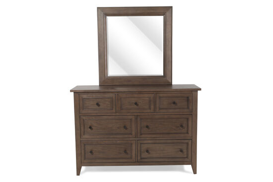 Two-Piece Raised Panel Dresser and Mirror in Soft Driftwood