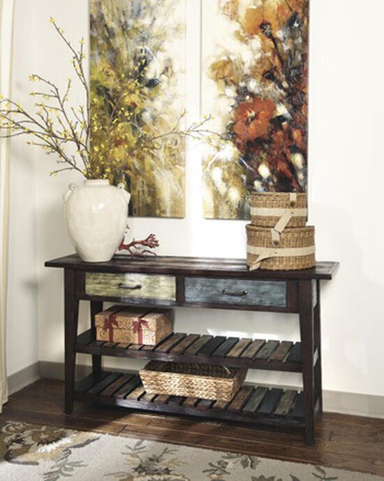 Slatted Shelves Casual Sofa Table in Rustic Brown