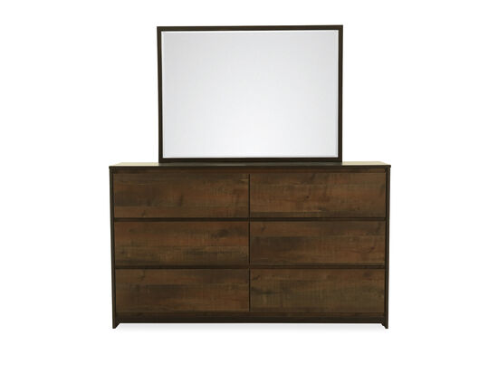 Two-Piece Contemporary Dresser and Mirror in Dark Brown
