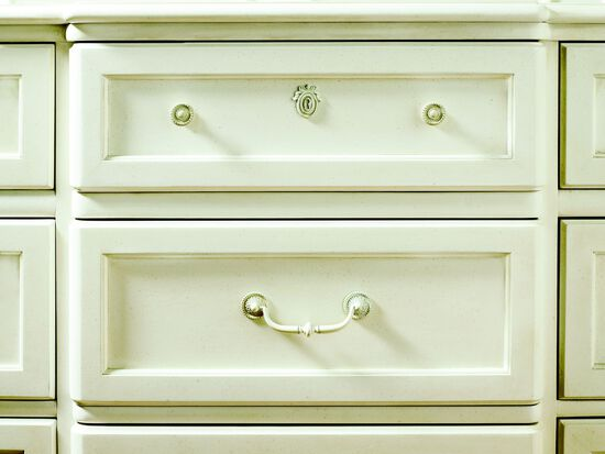 Nine-Drawer Traditional Youth Dressing Chest and Beveled Mirror  in White