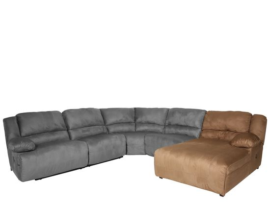 "Microfiber 47"" Right Arm Facing Chaise in Brown"