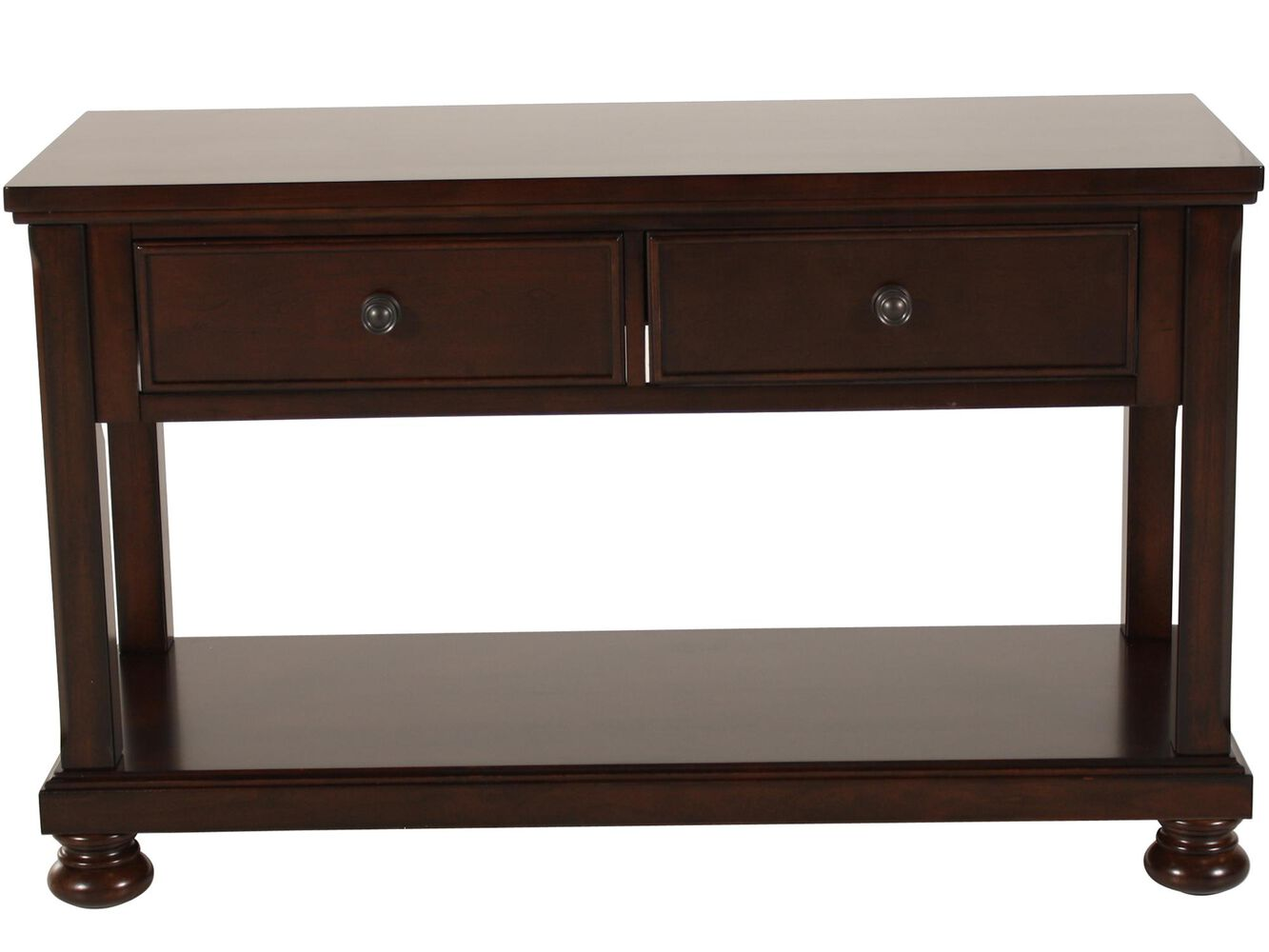 Two drawer traditional sofa table in brown cherry mathis for Sofa table pictures