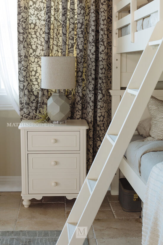 Transitional Paneled Two-Drawer Youth Nightstand in White