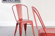 MB Home High-Street Matte Red Pair of Café Chairs