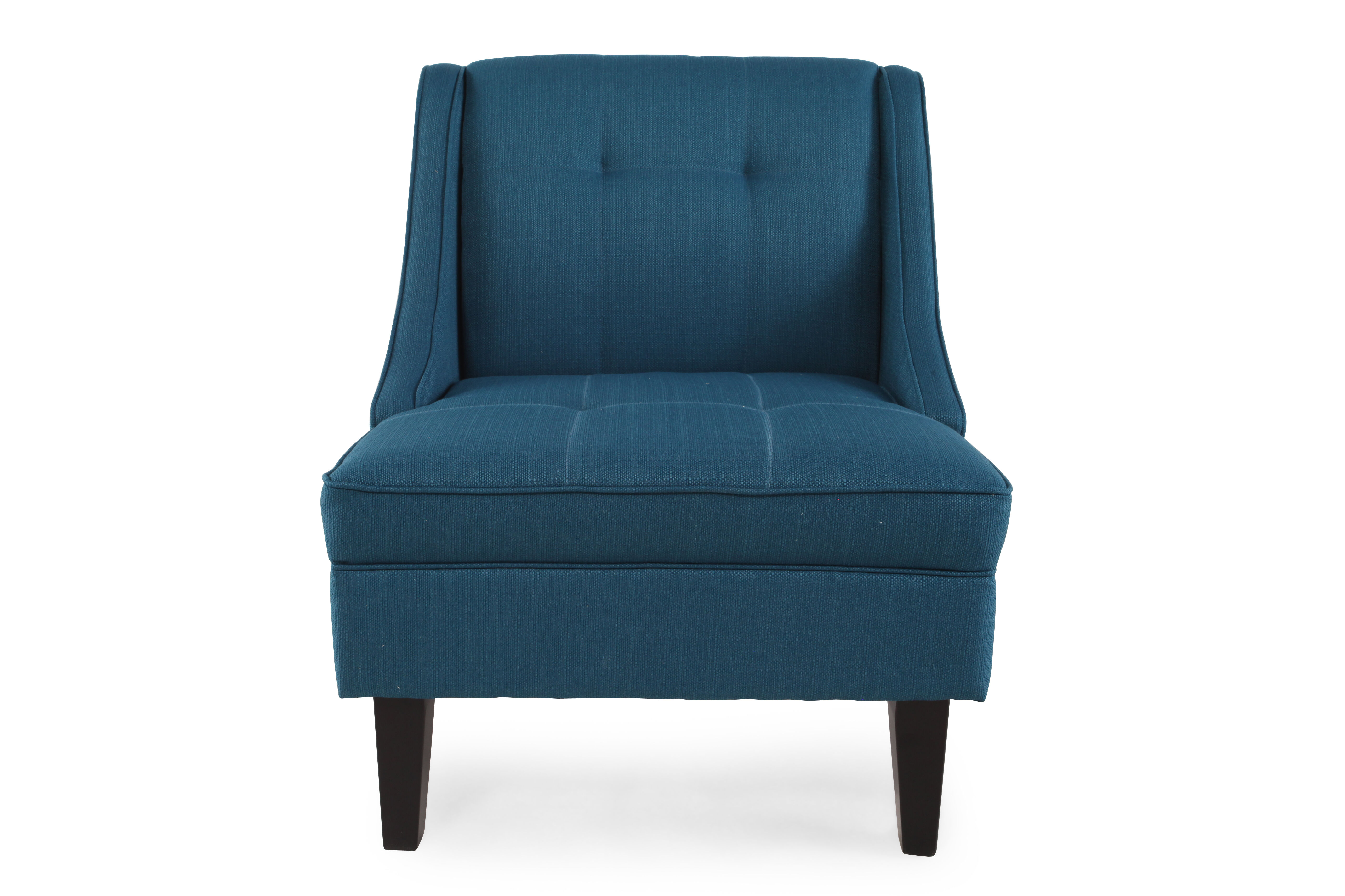 Tufted Contemporary 28u0026quot; Accent Chair In Blue