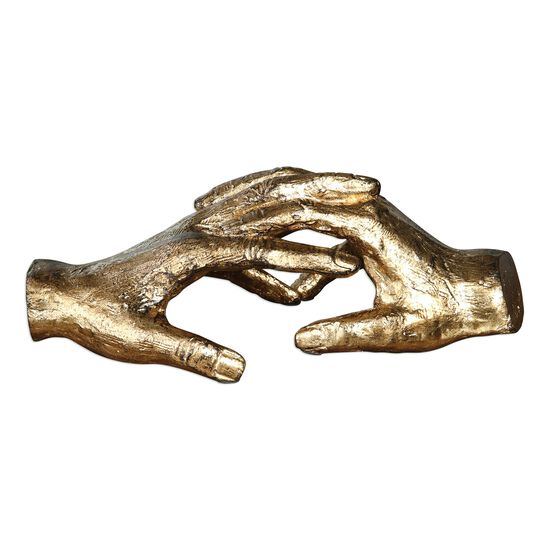 Holding Hand Sculpture in Gold Leaf